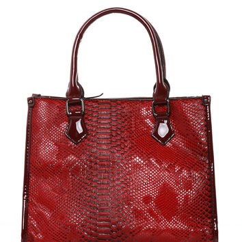 Red Mock Croc Patent Tote Bag