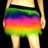 UV RAINBOW FLUFFY FURRY SKIRT COVERS NEON  PARTY  RAVE DANCE CLUBWEAR HALLOWEEN
