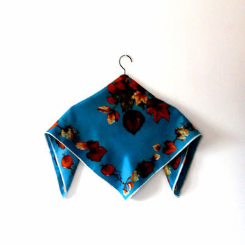 Maple leaf print scarf. deep turquoise. blue scarf. branches. dark orange. brown. golden. green. gift. vintage. retro. silky. square scarf