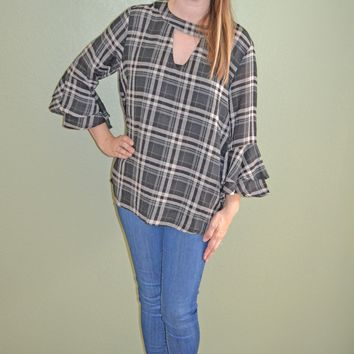Get Over It Plaid Bell Sleeve Top: Black