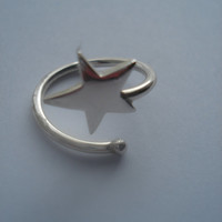 925 Silver Star Ring, Sterling Silver Ring, Silver Jewellery,Silver Jewelry, Adjustable Ring