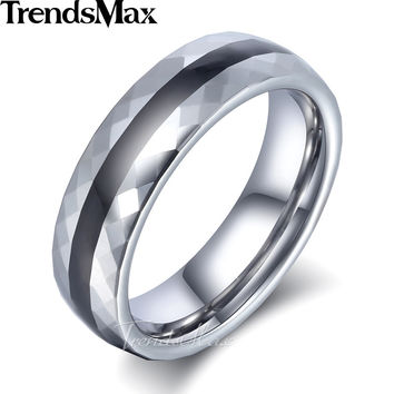 Trendsmax Tungsten Carbide Band Ring Mens Boys 6mm Silver Black Black Stripe Faceted