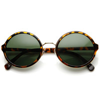 Vintage Steampunk Classic Round Sunglasses Metal Bridge 8407