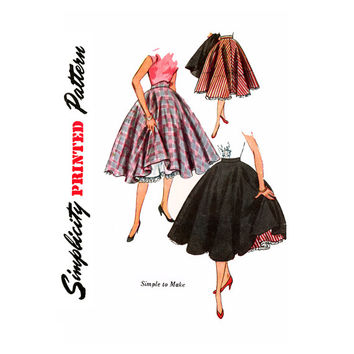 1950s Rockabilly Skirt Vintage Sewing Pattern Waist 24 Simplicity 3813 Full Circle Skirt, Skirt and Petticoat, Square Dance Skirt, Crinoline
