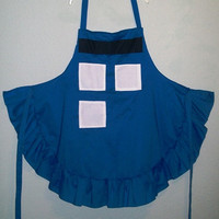 Blue Police Box Full Apron w/ Ruffle / Doctor Who Themed Apron / Blue Police Call Box Apron / Sci Fi Geek Apron