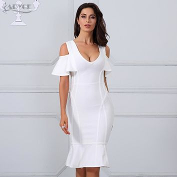 Adyce 2017 Sexy Women Bandage Dress White V Neck Short Sleeve Vestidos Ruffles Mid-Calf Length Celebrity Evening Party Dresses