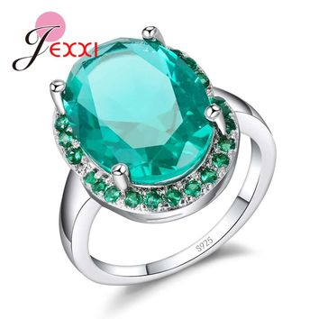 JEXXI Cool Big Oval Cubic Zircon Stone Promise Rings Sparkling Real 925 Sterling Silver Green Crystal Wedding Engagement Jewelry