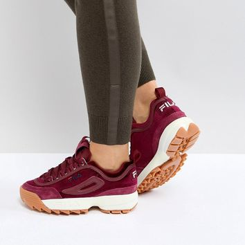 Fila Disruptor In Burgundy Velvet at asos.com