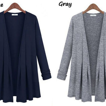 Plain Sleeve None-Button Cardigan