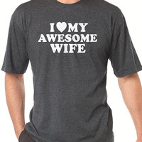 Wedding Gift I Love My Awesome Wife T-shirt Mens T shirt Husband Gift Valentine's Day Gift Funny Tshirt Cool Shirt