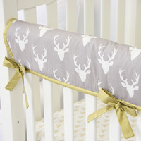 Woodlands Deer Baby Bedding | Mint and White Crib Rail Cover