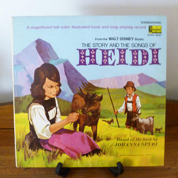 "Vintage 1968 LP Vinyl Record ""The Story and the Songs of Heidi"" / Disneyland Record / Walt Disney Studio / Based On Book By Johanna Spyri"