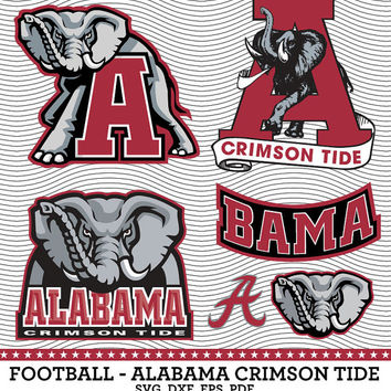 Alabama Crimson Tide Football Logo, SVG, dxf, eps, PDF, Digital cut files for Silhouette Studio, Cricut Design Space Cutting Machine SVG11