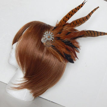 Steampunk Gears, Rust and Black Feather Fascinator, Hair Clip or Hat Pin