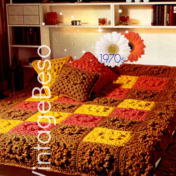 Afghan Crochet PATTERN Vintage 1970s Afghan Bedspread Cover Cushions Pillows Home Decor Boho Vintage Beso Instant Download PDF Pattern