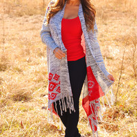 Heart Made Up Cardigan: Gray/Red