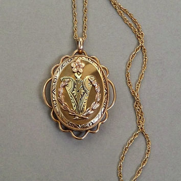 12k GOLD Filled Antique MOURNING Locket URN Wreath Lily Flower Memento Mourning Jewelry