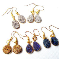 Iridescent Purple/Blue Druzy Earrings, Purple Titanium Druzy Quartz Teardrop on Gold Framed  Earrings, Purple Gold Sparkly Dangle
