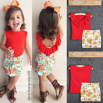 Kids Baby Girls Toddler Clothes Sets Cute Fashion Red Ruffled T-Shirt  Flower Pencil Skirt f59edc4e8