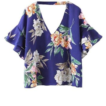 Floral Tunic Tops Blue Double V Neck Blouse Women Bell Layered Sleeve Tops New Elegant Beach Ruffle Blouse