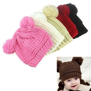 New Arrival Cute Baby Kids Girl Boy Dual Balls Warm Winter Knitted Cap Hat Beanie [8270457345]