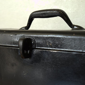Vintage Industrial Metal and Wood Black Tackle or Woodworking Storage Box