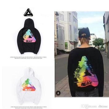 2017 PALACE TRI-SMUDGE Triangle Letters Dissolve Mirage Men Women Hooded Sweater Hoodies Hip Hop Sweatshirt White Hombre