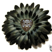 Black Hair Flower - Alternative Fashion - Goth, Psychobilly - Skull Guitar Pick - Womens Hair Clip, Ombre, Silver