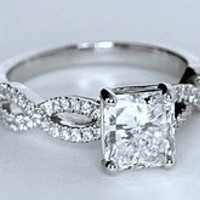 2.27ct Radiant Diamond Engagement  ring D-VVS1 18kt White Gold Infinit Twist GIA certified JEWELFORME BLUE