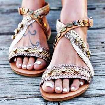 Fashionable Handmade Bohemian Flat-soled Sandals 40-42 Size for Women's Shoes