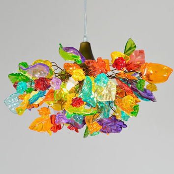 Lighting hanging chandeliers,  flowers and leaves multicolored