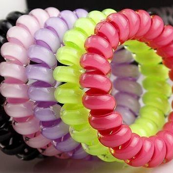 2016 new headdress girl women head flower hair accessories hair ring hair rope candy-colored telephone wire 17 colors