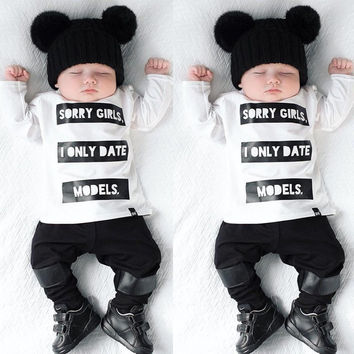 2pcs Infant Baby Kids Boys Long Sleeve T-shirt Tops Pants Newborn Outfits Black white Suit baby boy clothes