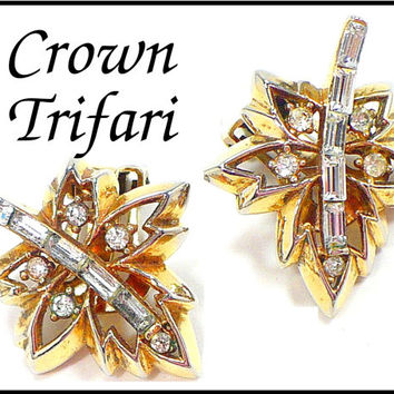 1949 Crown Trifari Rhinestone Earrings, Golden Leaves, Patent D155217, Bridal Jewelry, New Years Eve Glam, Gift For Collector