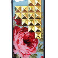 Blue Floral Gold Pyramid iPhone 5/5s Case