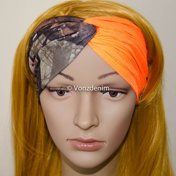 Camo and Blaze Orange Spandex Headband, Hunting Turban, Wide Stretchy Women's Head Wrap, Girly Hair Accessories, Twisted Fabric Hair Wrap