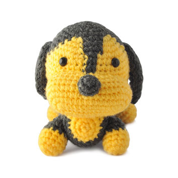 Dark Gray-Yellow Dogs Handmade Amigurumi Stuffed Toy Knit Crochet Doll VAC