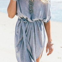 Gray Half Sleeve Slit Dress with Sash