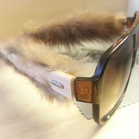 Fur Lined Wooden Sunglasses Warm Real Mink Bamboo Wood Sunglasses - Wood Eyewear Wayfarers | Hand Made from Recycled Wood line with real fur