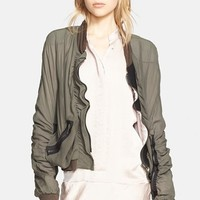 Women's Haider Ackermann Ruffled Silk Bomber Jacket,