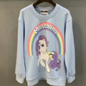 """""""Moschino"""" Women Casual Cute Cartoon Pony Rainbow Letter Pattern Print Loose Long Sleeve Pullover Sweater Tops"""