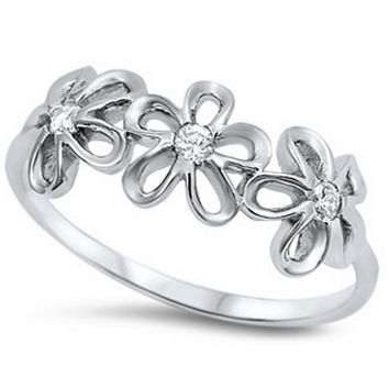 Sterling Silver and CZ Flower Ring Band