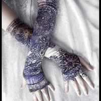 Mirage Arm Warmers - Navy Blue White Pale Yellow Black Tan Brown Floral Mandelas - Gothic Tribal Namaste Steampunk Noir Mehndi Gypsy Yoga