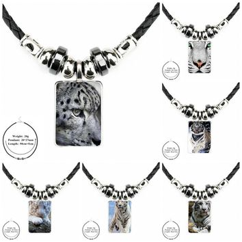 EJ Glaze White Bengal Tiger Jewelry Black Leather Bead Pendant Glass Cabochon Choker Pendant Necklace For Women Christmas Gift