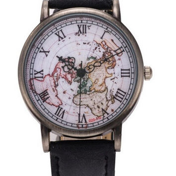 Extraordinary High Quality Men And Women Fashion Retro Table Roman Copper Shell Surface Map Table Quartz Watch = 1956630340