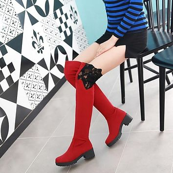 Lace Patchwork Solid Color Low Chunky Heels Over-knee Long Boots