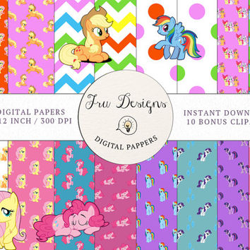 16 x My Little Pony Digital papers - Digital patterns, My Little Pony Scrapbooking - Free 10 My Little Pony Clip Arts - Instant Download