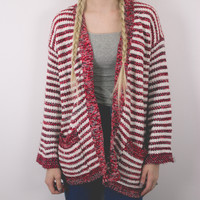 Vintage Burgundy Striped Cardigan Sweater