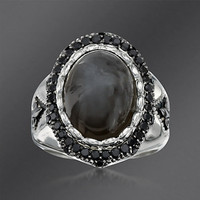 Ross-Simons - Scott Kay Gray Moonstone and Black Spinel Ring In Sterling Silver. Size 7 - #771102