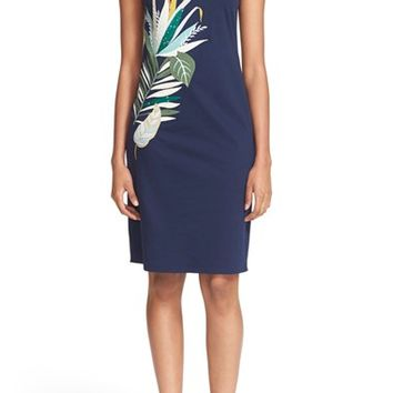 Tory Burch 'Elyse' Embroidered Sleeveless Jersey Shift Dress | Nordstrom